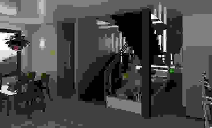detalle en la escalera Diseño Store Pasillos, vestíbulos y escaleras de estilo moderno