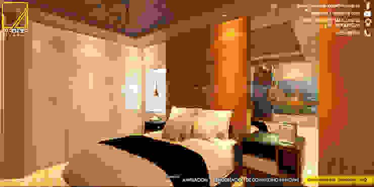 Vista de Cabecera en Melamine de 18mm con textura de Madera Natural _Contacto 925389750 Dormitorios de estilo moderno de F9.studio Arquitectos Moderno Aglomerado
