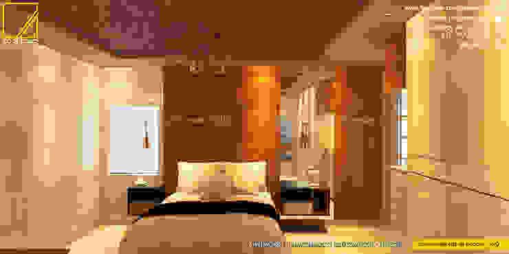Vista de la Cabecera en melamine color Madera natural _Contacto 925389750 Dormitorios de estilo moderno de F9.studio Arquitectos Moderno Aglomerado