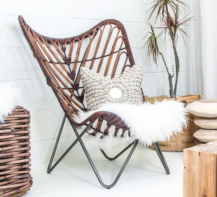 PLANTATION BUTTERFLY CHAIR: tropical  by Atelier Lane | Interior Design, Tropical Rattan/Wicker Turquoise