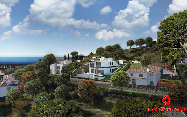 Vista villetta dall'alto Baldantoni Group Case moderne
