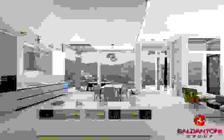Soggiorno della villa con cucina Baldantoni Group Soggiorno moderno