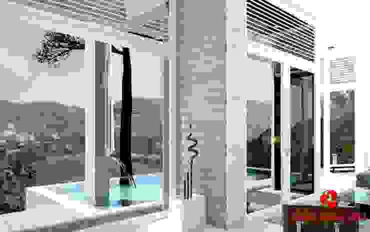Finestre nel soggiorno con vista panoramica Baldantoni Group Finestre & Porte in stile moderno