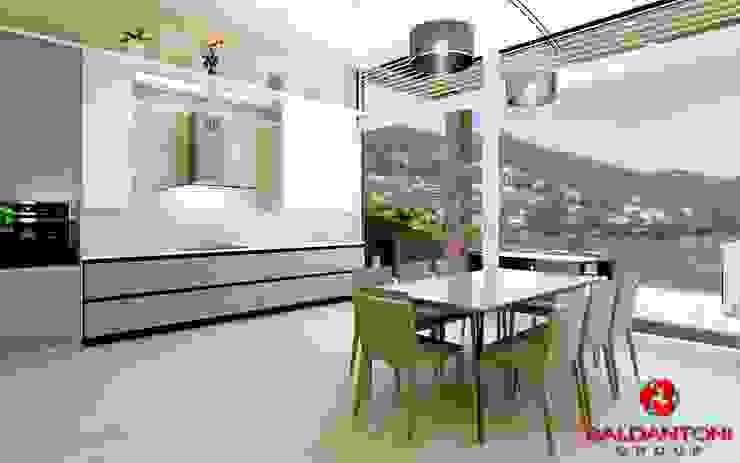 Cucina con soggiorno e vista panoramica Baldantoni Group Cucina moderna
