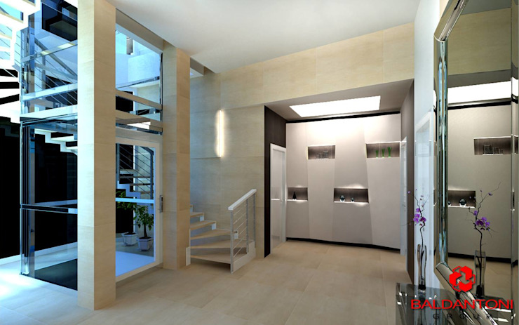 Scale per salie nella zona notte Baldantoni Group Ingresso, Corridoio & Scale in stile moderno