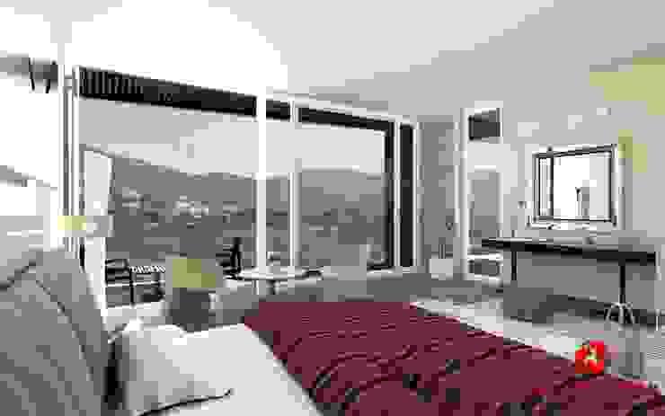 Camera da letto padronale con vista sul panorama Baldantoni Group Camera da letto moderna
