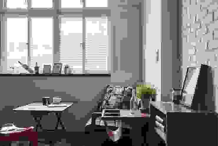 濃淡適宜 摩登輕工業魅力 现代客厅設計點子、靈感 & 圖片 根據 第宅空間設計 現代風