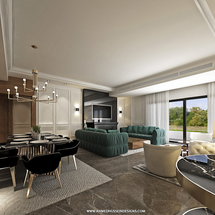 apartment Eclectic style living room by ahmed hussein designs Eclectic