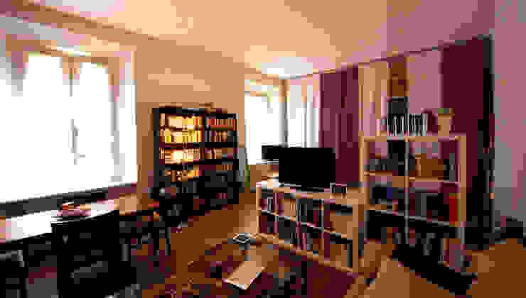 MBquadro Architetti Moderne Wohnzimmer Holz Weiß