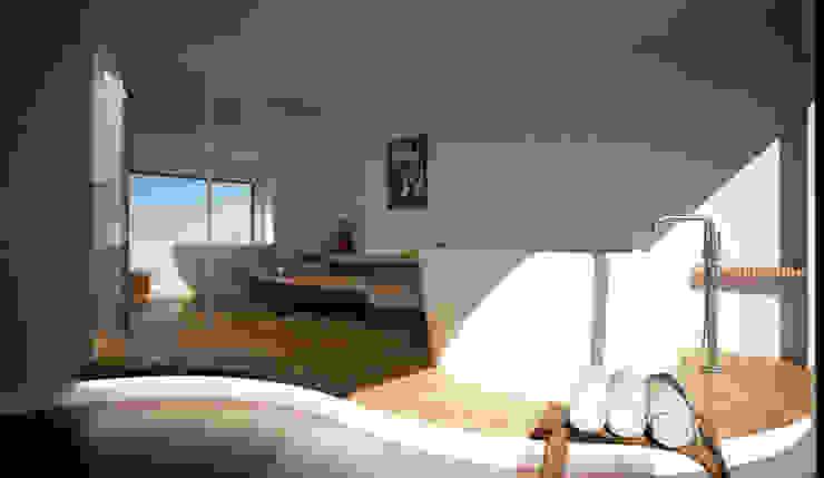Render di progetto per la realizzazione di una piccola SPA - palestra privata - visualizzazione diurna. MBquadro Architetti Bagno turco Pietra Beige