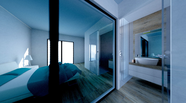 Bagno en-suite camera ospiti MBquadro Architetti Bagno moderno