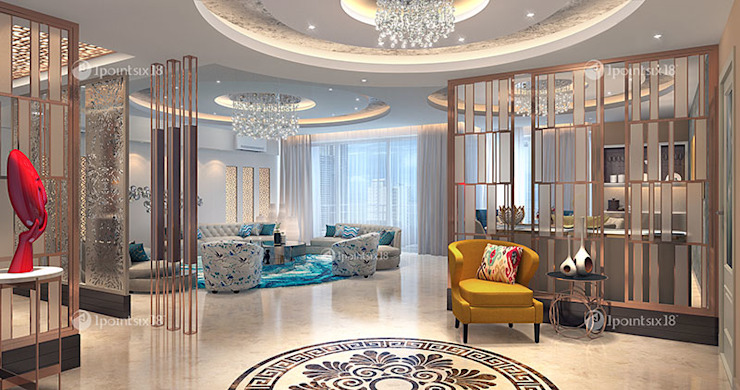 Apartment at The Belaire, DLF 5, Gurgaon (4200 sft) Modern living room by 1pointsix18 Modern