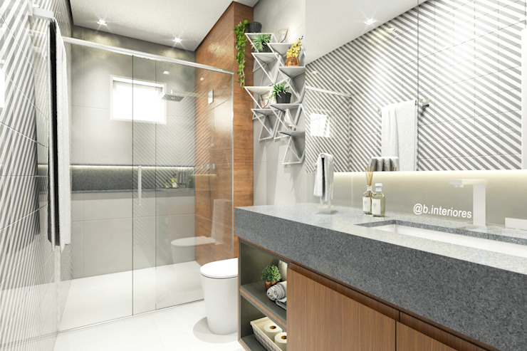 Bruna Rodrigues Designer de Interiores Modern bathroom Tiles Grey