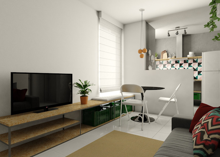 Bruna Rodrigues Designer de Interiores Salones de estilo moderno Tableros de virutas orientadas