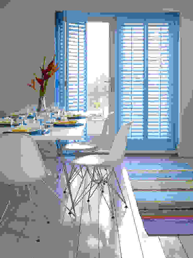 Plantation Shutters—Dining Rooms Mediterranean style dining room by TWO Australia Mediterranean