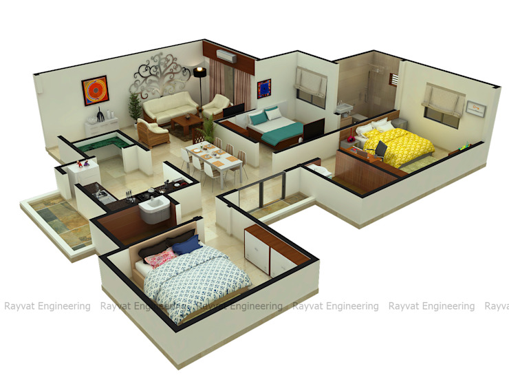 3D Floor Plan Services by Rayvat Rendering Studio