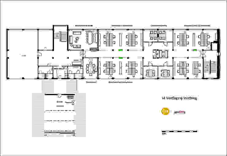 Plattegrond, indeling van de ruimte, ongeveer 400 m2.: modern  door Jan Detz Interieurarchitect, Modern