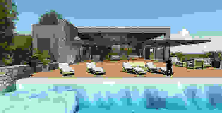 Piscina/ Entrada/ Area Gourmet Modern Pool by MRAM Studio Modern
