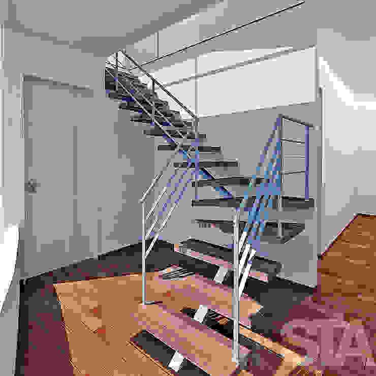 Ampliación Departamento ITU Minimalist corridor, hallway & stairs by Soluciones Técnicas y de Arquitectura Minimalist