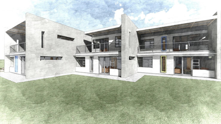 Perspective of Duplex Units Modern houses by Truspace Modern