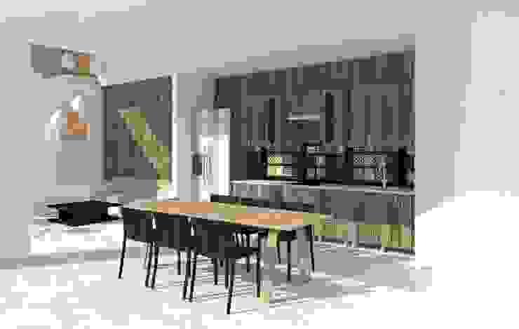Phối cảnh bếp và phòng ăn.: hiện đại  by Cat-Studio, Hiện đại