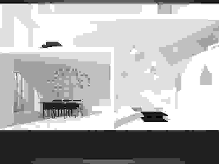 Phối cảnh mặt cắt phòng khách chờ và phòng ăn + bếp.: hiện đại  by Cat-Studio, Hiện đại