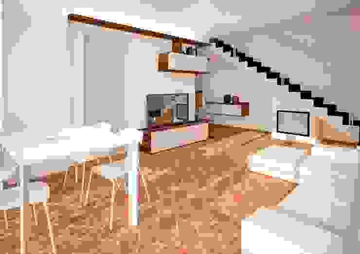 Vista sul nuovo soggiorno Soggiorno in stile rustico di smellof.DESIGN Rustico