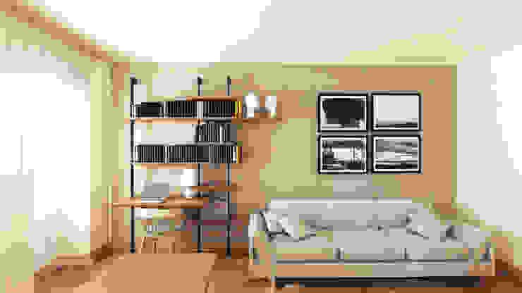 Vista frontale della nuova libreria con scrittoio integrato di smellof.DESIGN Moderno