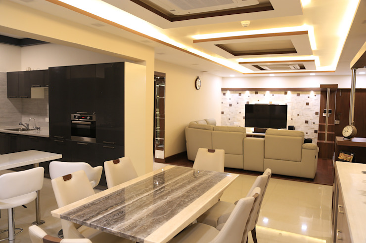 Living and Dinning Room Modern Dining Room by homify Modern Plywood