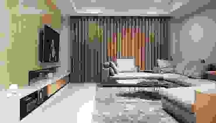 客廳全景 现代客厅設計點子、靈感 & 圖片 根據 見和空間設計 現代風