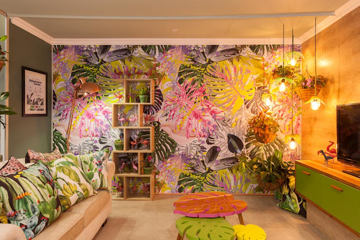 Durban Decorex 2017 Salas de estar tropicais por Redesign Interiors Tropical