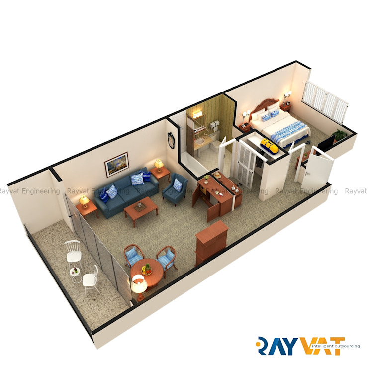 3D Floor Plan Design by Rayvat Rendering Studio
