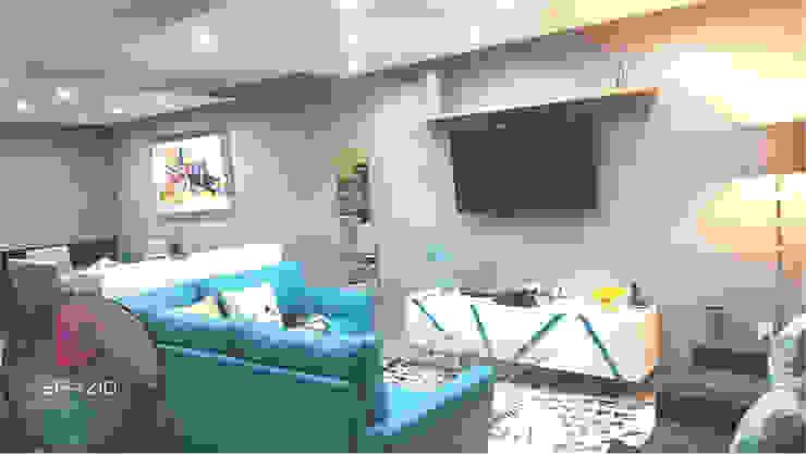 Zoi Residencial Zapopan Salones modernos de Spazio Diseño de Interiores & Arquitectura Moderno