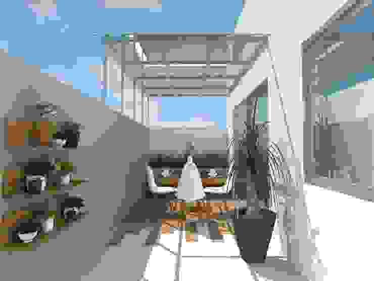 Propuesta en render Constructora e Inmobiliaria Catarsis Balcones y terrazas modernos Cerámico Beige