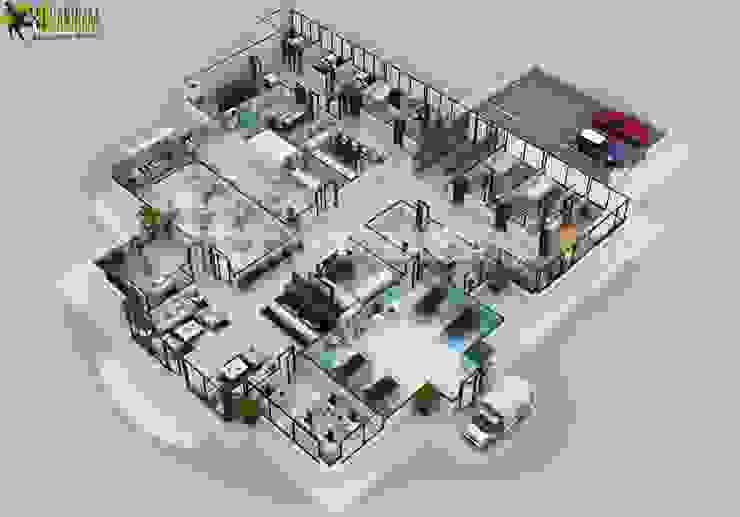 3D Hospital Floor Plan Layout Design by Yantram 3d floor plan software Brussels by Yantram Architectural Design Studio Classic Concrete