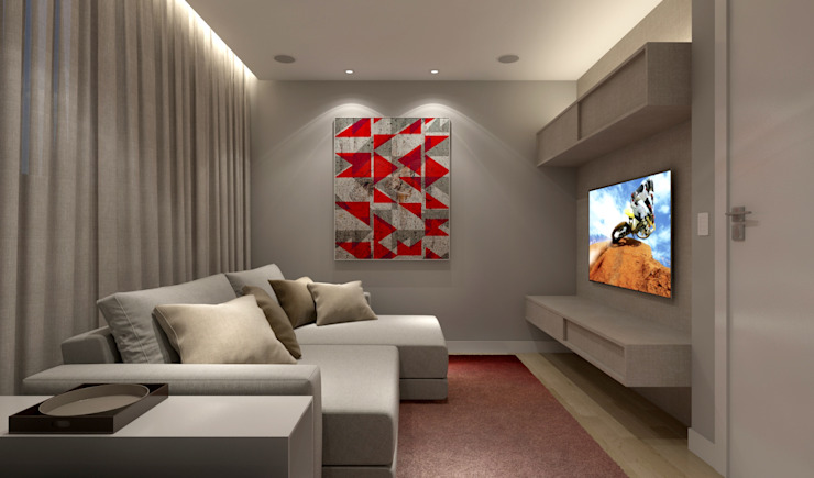 Salas multimedia minimalistas de RAFE Arquitetura e Design Minimalista