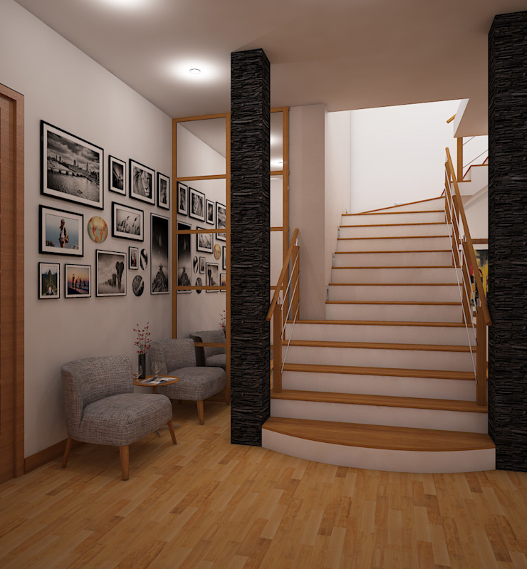 Classic corridor, hallway & stairs by Spacio5 Classic Wood Wood effect