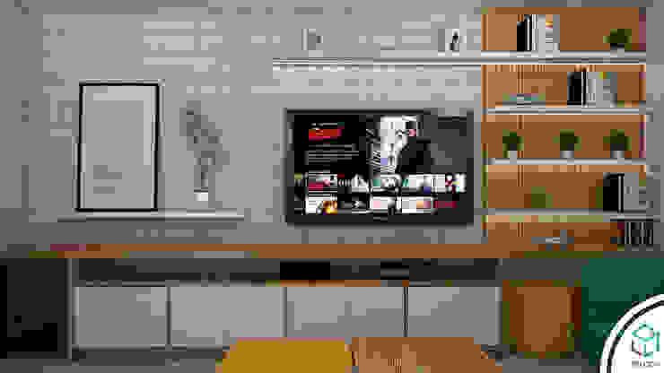 Centro de entretenimiento : Salas de entretenimiento de estilo  por Spacio5, Moderno Madera Acabado en madera