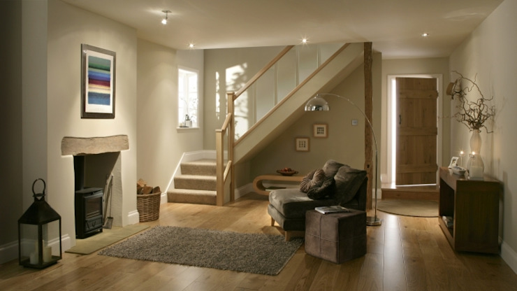 White Oak and Glass Timber Staircase Modern Corridor, Hallway and Staircase by Stair World Modern Glass