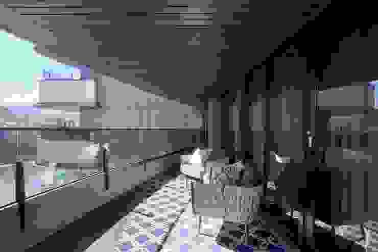 碧水波光 现代客厅設計點子、靈感 & 圖片 根據 行一建築 _ Yuan Architects 現代風