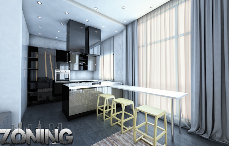 Kitchen by Zoning Architects Modern Wood Wood effect