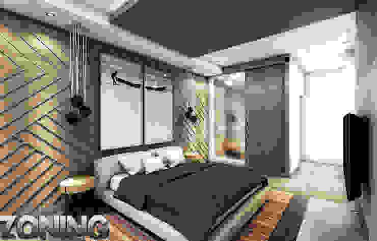 Camera da letto moderna di Zoning Architects Moderno Legno Effetto legno