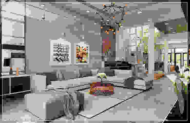 Salon moderne par Công ty cổ phần đầu tư xây dựng Không Gian Đẹp Moderne