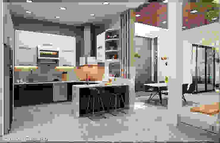 Phòng bếp Nhà bếp phong cách hiện đại bởi Công ty cổ phần đầu tư xây dựng Không Gian Đẹp Hiện đại