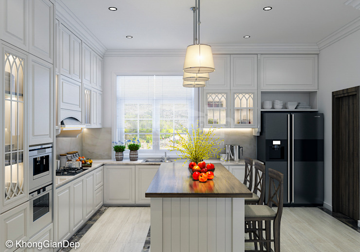 Phòng bếp Nhà bếp phong cách Bắc Âu bởi Công ty cổ phần đầu tư xây dựng Không Gian Đẹp Bắc Âu