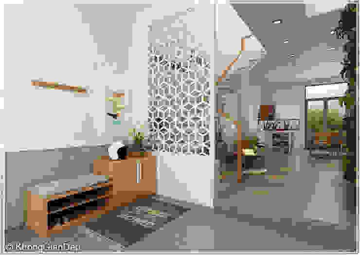 Tầng trệt Hành lang, sảnh & cầu thang phong cách mộc mạc bởi Công ty cổ phần đầu tư xây dựng Không Gian Đẹp Mộc mạc