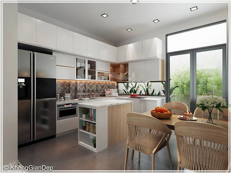Phòng bếp Nhà bếp phong cách mộc mạc bởi Công ty cổ phần đầu tư xây dựng Không Gian Đẹp Mộc mạc