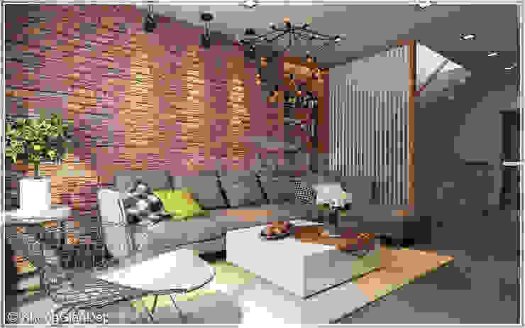 Salas de estar rústicas por Công ty cổ phần đầu tư xây dựng Không Gian Đẹp Rústico