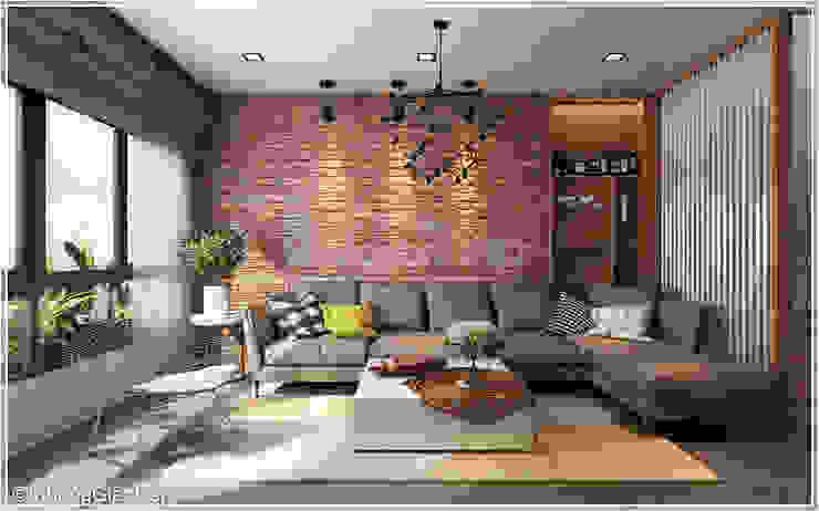Phòng khách Phòng khách phong cách mộc mạc bởi Công ty cổ phần đầu tư xây dựng Không Gian Đẹp Mộc mạc