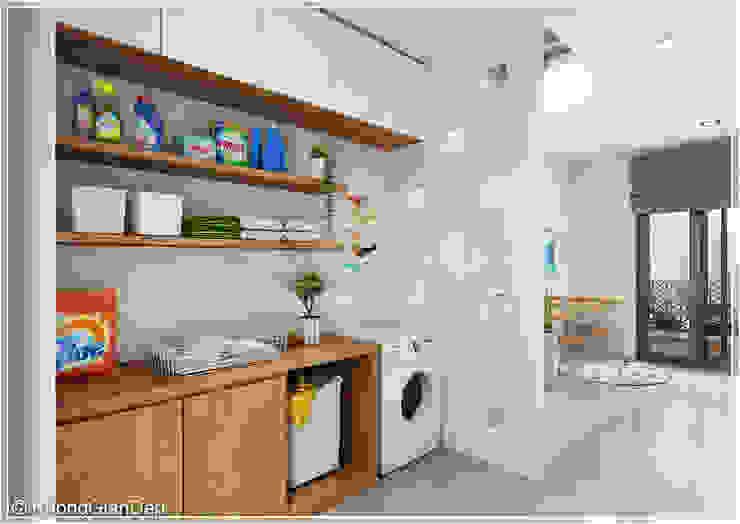 Phòng giặt Hành lang, sảnh & cầu thang phong cách hiện đại bởi Công ty cổ phần đầu tư xây dựng Không Gian Đẹp Hiện đại